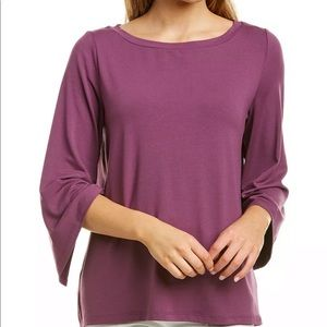 Eileen Fisher curan jewel NK top boatneck violet